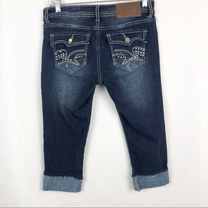 Almost Famous Distressed Capris Jeans